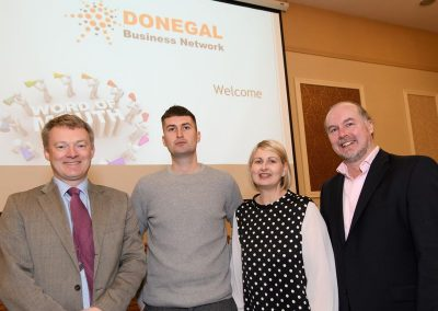 Garry Clarke, Director DBN, Ciaran Greaney, Geraldine Greaney, Format Computers and Michael McGinty, Mean IT anat the Donegal Business Network (DBN) General Data Protection Regulation (GPDR) workshop the Radisson Hotel Letterkenny on Wednesday morning. Photo Clive Wasson